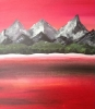 Mountain Lake under a Red Sky