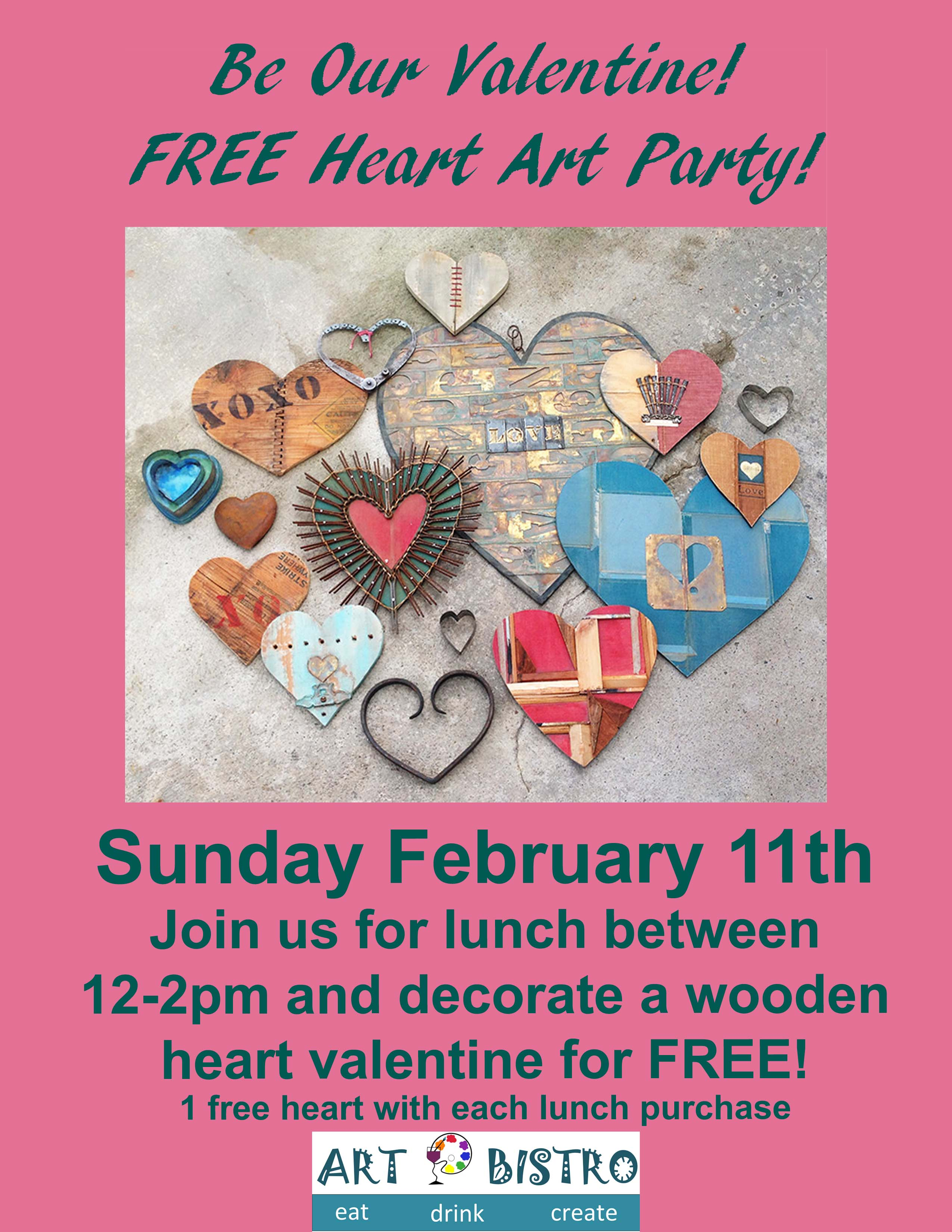 FREE Art Heart Party with lunch purchase 2/11 12-2pm!