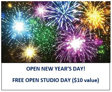 Free Open Studio and Happy Hour on New Years Day